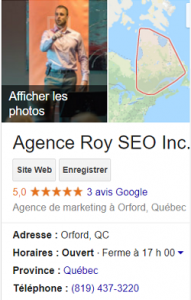 Compte Google Mon Entreprise de Roy SEO