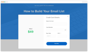 Paid webinar subscription page